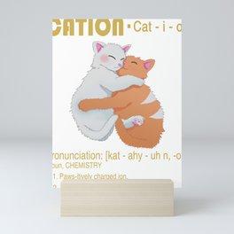"""Cation"" Funny Chemistry Cat Pun Science Gift Mini Art Print"