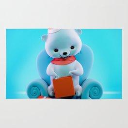 Teddy Bear With Christmas Box Rug