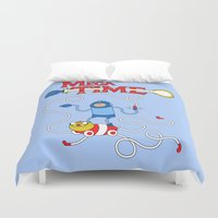 megaman Duvet Covers featuring Mega Time! by Pengew