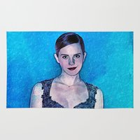 emma watson Area & Throw Rugs featuring Emma Watson - Blue by André Joseph Martin