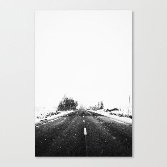SNOW - WHITE - ROAD - WAY - TRIP - ADVENTURE Canvas Print