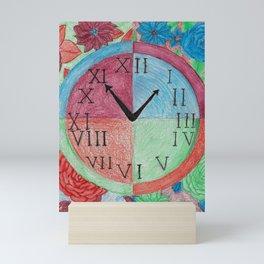 The Seasons Clock with Florals Mini Art Print