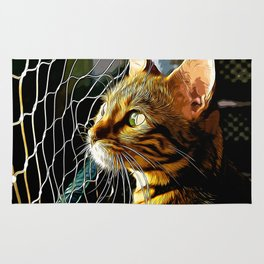 bengal cat yearns for freedom vector art Rug
