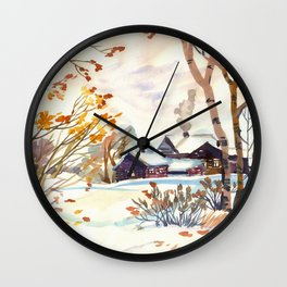 Late Autumn. First Snow. Rural Landsape. Birches Wall Clock