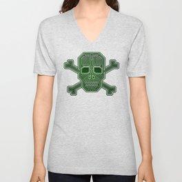 Hacker Skull Crossbones (isolated version) Unisex V-Neck
