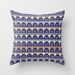 Multicolored fans and stripes pattern Throw Pillow