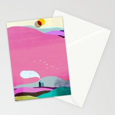 The Little House under the Pink Mountain Stationery Cards