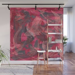 Impetuous, Abstract Art Painting Red Copper Gray Wall Mural
