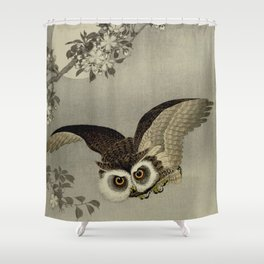 Japanese Owl and Moon Shower Curtain