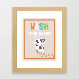 Wash your Hands cute kid's bathroom art print with french bulldog puppy illustration Framed Art Print