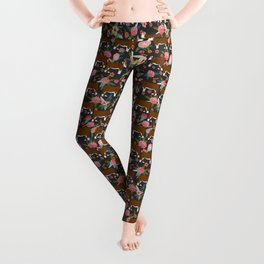 Hereford Cattle breed floral farm homestead gifts cow art florals Leggings