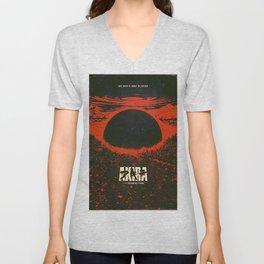 Cyberpunk City Explotion Poster Unisex V-Neck