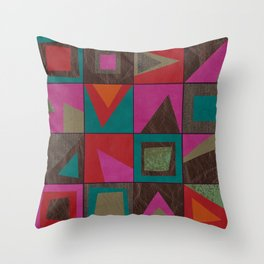 squares of colors and shreds Throw Pillow