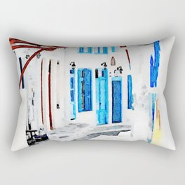 Watercolor Painting of Mykonos Rectangular Pillow