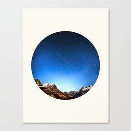 Mid Century Modern Round Circle Photo Minimalist Mountain Range Blue Sky Canvas Print