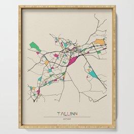 Colorful City Maps: Tallinn, Estonia Serving Tray