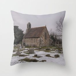 Seasalter Old Church In Winter Throw Pillow