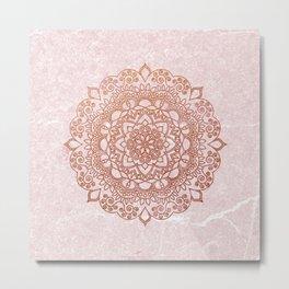 Mandala on concrete - rose gold Metal Print