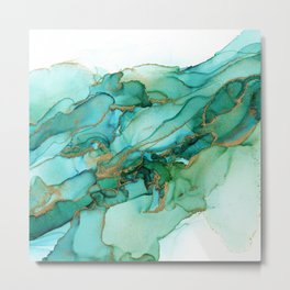 Emerald Gold Waves Abstract Ink Metal Print