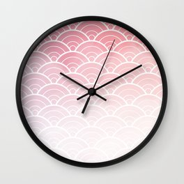 Pink Ombre Japanese Waves Pattern Wall Clock