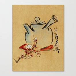 Vintage Japanese Teapot Painting Canvas Print