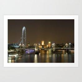 London skyline at night Art Print