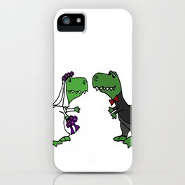 Funny Green T-Rex Dinosaurs as Bride and Groom Art iPhone Case