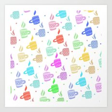 Modern pastel winter holidays coffee hand drawn pattern Art Print