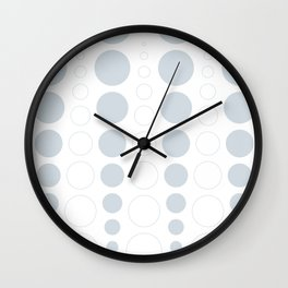 Up and down polka dot pattern in white and a pale icy gray Wall Clock