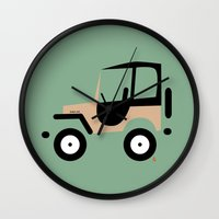 jeep Wall Clocks featuring Just a Jeep by Marcelo Badari