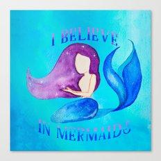 I Believe in Mermaids - Galactic Purple Blue Mermaid Canvas Print