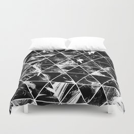 Geometric Whispers - Abstract, black and white triangular, geometric pattern Duvet Cover