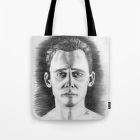 tom hiddleston Tote Bags featuring Tom Hiddleston by LilKure