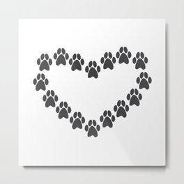 Paw Prints Heart Metal Print