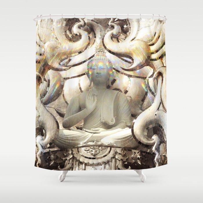 Pure Divine Buddha White Shower Curtain