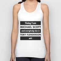 michael scott Tank Tops featuring Today I am Michael Scott by The LOL Shop