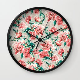 Peonies with lace effect Wall Clock
