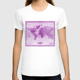 Vintage Map of The World (1833) White & Purple T-shirt