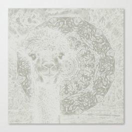 Ghostly alpaca and mandala Canvas Print