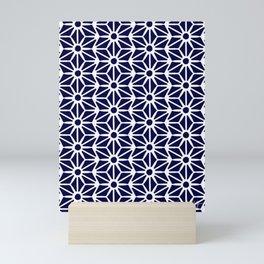 Asanoha Pattern - White on Navy Mini Art Print
