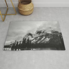 Smokey Mountains Maligne Lake Landscape Photography Black and White by Magda Opoka Rug