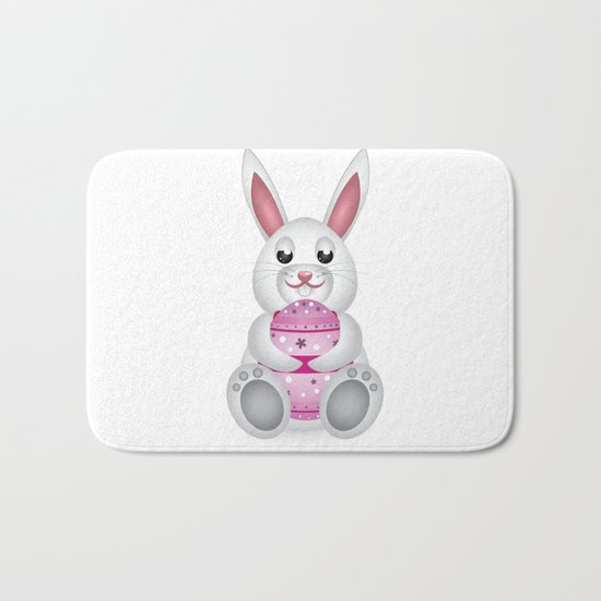 Easter Bunny With Pink Egg Bath Mat By AnnArtshock