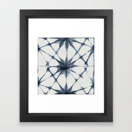 Shibori Starburst Indigo Blue on Lunar Gray Framed Art Print