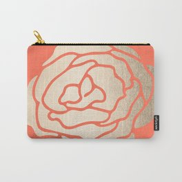 Rose White Gold Sands on Deep Coral Carry-All Pouch