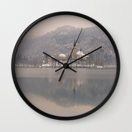 Bled Island On A Wintry Day Wall Clock