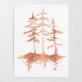 Three Sisters Trees Rose Gold on White Poster