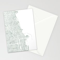 Map Chicago city watercolor map Stationery Cards