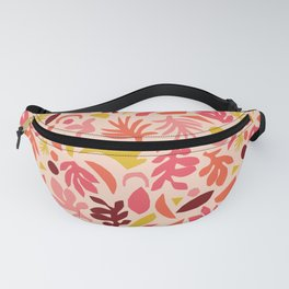 Coral Red Pink And Gold Yellow Nature Pattern Abstract Fanny Pack