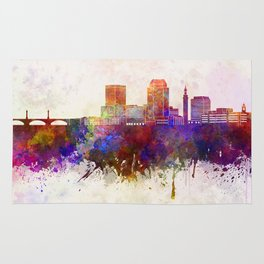 Springfield MA skyline in watercolor background Rug