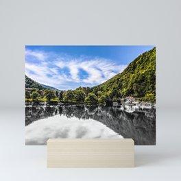 Slovenia River Mountains Reflection Photograph Color/Black & White Mashup Mini Art Print